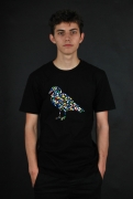 Cleptomanicx Dots Gull Black T-Shirt