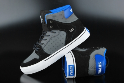 Supra Kids Vaider Charcoal Black White Schuh